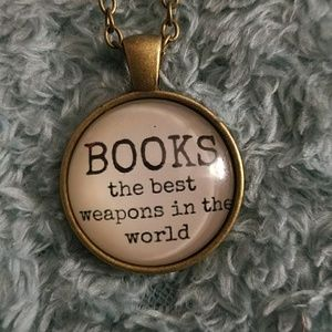 Book lovers cabochon necklace